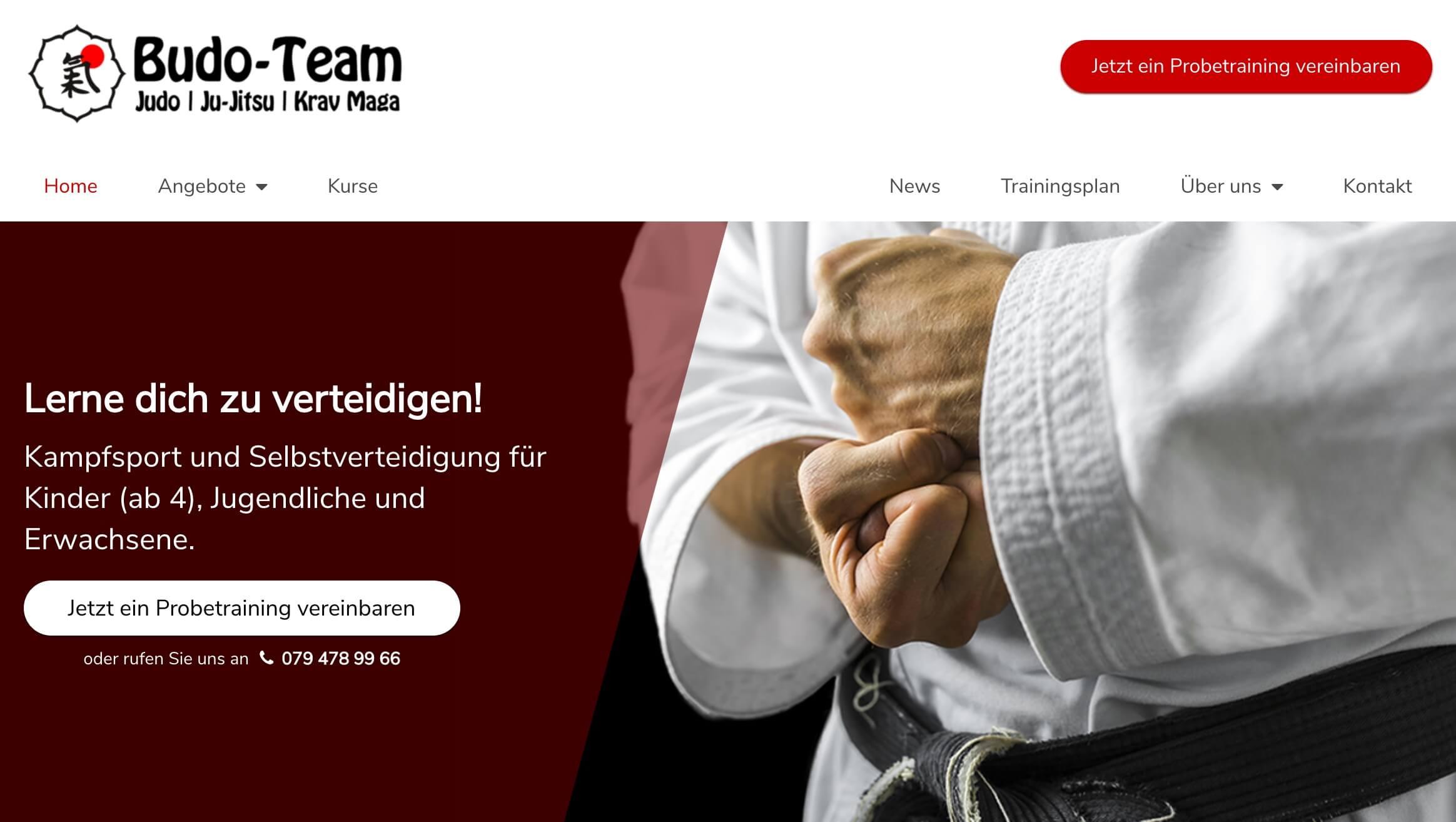 Moderne Kampfsport-Webseite mit klarer Navigation und Aufruf zum vereinbaren eines Probetrainings