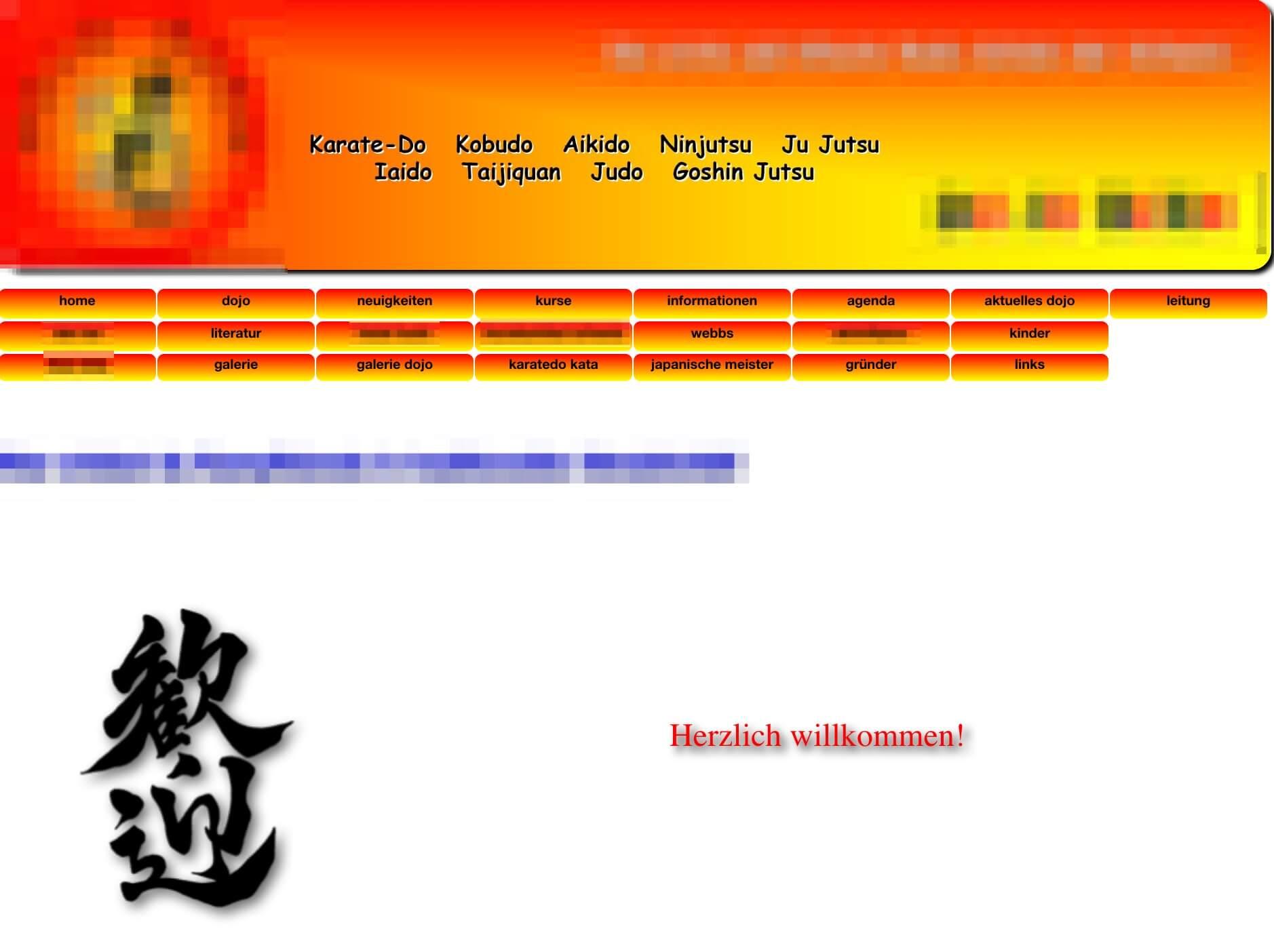 Veraltete Kampfsport Webseite mit beinahe zwei Dutzend Navigationspunkten